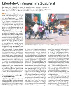 """Versicherungswirtschaft: """"Lead-Generierung"""" / Gastbeitrag, 2012"""